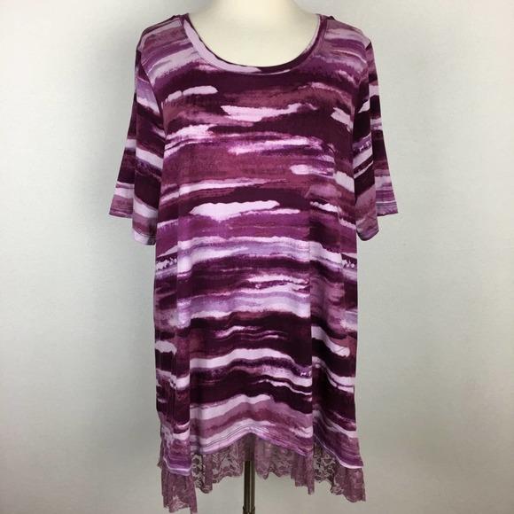 LOGO Maroon Stripe Tunic With Lace XL